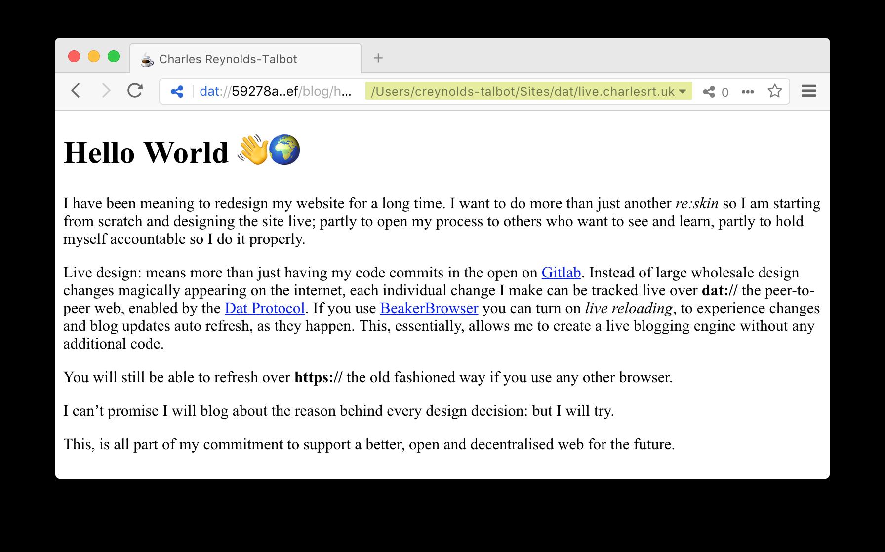A screenshot of my zero dawn refresh served over the peer-to-peer web via Beaker Browser. It works!